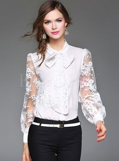 Shop Mesh Lace Embroidery Tied-collar Blouse at EZPOPSY. Sexy Blouse, Collar Blouse, Beautiful Blouses, Beautiful Gowns, Blouse Styles, Blouse Designs, Black Lace Jacket, Hijab Fashion, Fashion Outfits