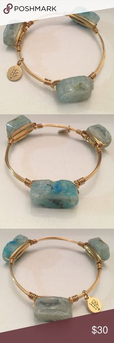 "Bourbon and Boweties Gold toned wire bangle with 3 Turquoise Blue Agates 2.4"" diameter.                               Bourbon and Boweties bangles by Carley Ochs are handcrafted and made with druzy stones, coins, shotgun shells, semiprecious stones, geodes, smoky quartz, Lava stones, shells, turquoise, jade, polished coral, Peruvian opal, agates and many more all wrapped with gold plated wire. ""Made by proud Southern hands"" right here in the good ole Bourbon and Bowties Jewelry Bracelets"