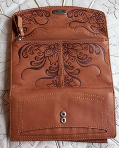 Tan brown henna inspired pyrography burned leather Fossil wallet