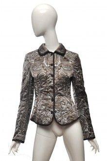 Vzorovaná bílo hnědá bunda sako Escada 36  #escada #sako #buda #vzor #potisk #potisky Moschino, Gucci, Vogue, Leather Jacket, Jackets, Vintage, Fashion, Studded Leather Jacket, Down Jackets