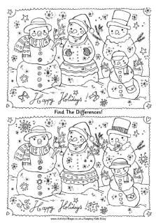 Find the differences snowmen puzzle