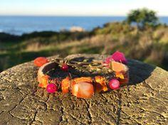 Sari silk carnelian bracelet wire-wrapped by BohoSanFrancisco