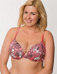 555f8d3617 Cotton boost plunge push up bra in plus size
