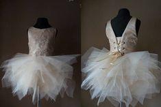 ASHLEY Champagne  Lace Tulle Flower Girl Dress Wedding