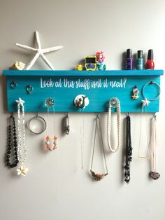 "Little Mermaid Inspired Jewelry and Accessory Organizer, Nautical Wall Art, Nurs. Little Mermaid Inspired Jewelry and Accessory Organizer, Nautical Wall Art, Nursery Decor - ""Look At Source by etsy. Teen Girl Bedrooms, Little Girl Rooms, Teenage Beach Bedroom, Girls Nautical Bedroom, Ocean Bedroom, Purple Wood Stain, Turquoise Room, Girls Bedroom Turquoise, Teal"