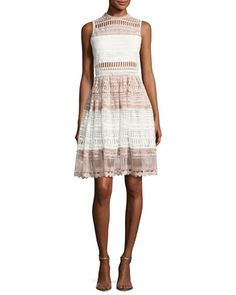 Sleeveless+Fit+&+Flare+Lace+Dress,+White/Pink+by+Alexis+at+Neiman+Marcus.