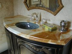 White Brown Bathroom Vanity Countertop With Oval Undermount Sink Chrome Faucets And Dark