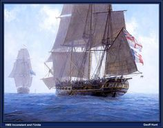 British HMS Inconstant and French l'Unite