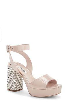 Miu Miu Jeweled Heel Ankle Strap Platform Sandal (Women) available at #Nordstrom