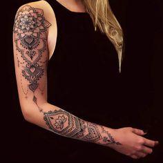 Leg Tattoos 69211 tattoo artist in Toulouse Mandala Arm Tattoos, Forearm Tattoos, Body Art Tattoos, Geometric Tattoos, Mandala Tattoo Sleeve Women, Geometric Sleeve Tattoo, Tribal Tattoos, Mandala Tattoo Schulter, Tattoo Schulter Frau