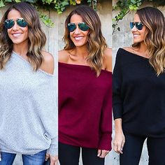 Women's Sexy Oblique Shoulder Batwing Sleeve Loose Ribbed Knitwear Top Blouse