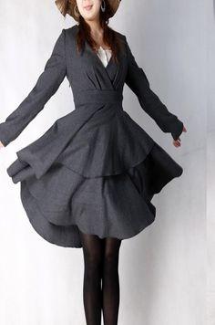 Grey plain elegant woolen KneeLength Dresses by xiaolizi on Etsy, $108.00