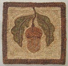 wool rug w/ acorn motif Rug Hooking Designs, Rug Hooking Patterns, Quilt Patterns, Crochet Patterns, Penny Rugs, Black Sheep Wool, Punch Needle Patterns, Latch Hook Rugs, Hand Hooked Rugs