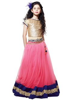 Gold and pink lehenga embellished in zardosi embroidery