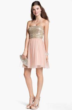Aidan Mattox Embellished Bodice Mesh Dress... Blush and gold dress for bridesmaids :)