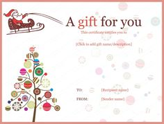 Christmas Certificates Templates For Word Free Printable Gift Voucher Template  Bizz  Pinterest  Free .