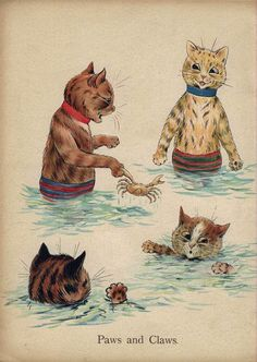 Paws and Claws ~ Louis Wain's Cat Painting Book. It's the darkest cat's little paw sticking up that steals my heart! Louis Wain Cats, Paws And Claws, Cat Drawing, Crazy Cats, Cool Cats, Cat Art, Cats And Kittens, Dog Cat, Cute Animals