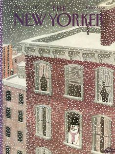 """""""The New Yorker """"Magazine cover, by Charles Addams, a snowman in the apartment building window. The New Yorker, New Yorker Covers, Christmas Art, Winter Christmas, Vintage Christmas, Xmas, Capas New Yorker, Editorial Illustration, Digital Illustration"""