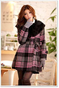 B2211 Japan Korea Women Fashion Pink Plaid Check Faux Fur Collar Coat | eBay