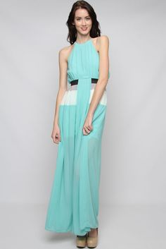 ♥ Silky Sky Charlie Maxi Dress – Gorgeously Flowing, stunning lightly Pleated Silk Blend Lined Halter Maxi Dress with a touch of contrast.