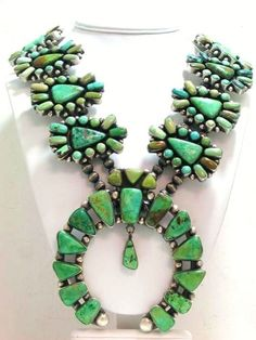 Native American Squash Blossom style Necklace Carico Lake Turquoise (without any blossoms at each station.)