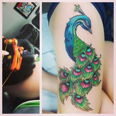 Beautiful peacock tattoo by David Jednat at Hyperion Tattoo in Depew, BY Girly Tattoos, Love Tattoos, Tattoos For Women, Female Tattoos, 3 Tattoo, Tattoo Quotes, Peacock Feather Tattoo, Peacock Feathers, Thigh Tattoo Designs
