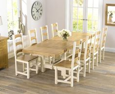 Country Painted solid oak furniture extending dining table with 8 Marino chairs