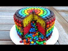 M&M RAINBOW PIÑATA CAKE - YouTube