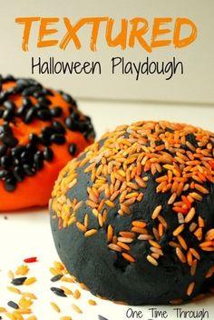 Get some TEXTURE into your child's playdough for extra fine-motor skill development! Freakishly Fun Halloween Playdough Ideas {One Time Through} #sensory #kids #Halloween