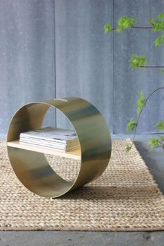 Circular Matt Brass and Wood Display Shelf