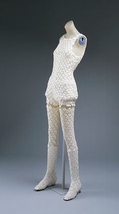 This is an example of couture hot pants. This ensemble was made in 1967 by Emanuel Ungaro. Hot pants are very short pants and were a staple in the early 1970s.