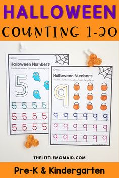 These Halloween number worksheets are designed for preschool, pre-k, and kindergarten students to practice number recognition, correct number formation and counting. #halloweenmathpreschool #halloweenmathkindergarten #halloweennumberactivities #preschool #kindergarten #numbersense #halloweencountingworksheets