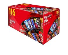 With everyone's favourites all in one variety box, sharing has never been more tasty! This variety mix box contains 116 bars of chocolate, including Mars, Snickers, Twix, M&M's, Bounty, Maltesers and Milky Way - perfect for parties and family gatherings.  Details Mars Variety Mix Chocolate Box 1.7kg Total package contents: 116 pieces Includes (grams per serving): Mars 18g Snickers 18g Twix 14.5g M&M's 13.5g Bounty 14g Maltesers 12g Milky Way 12g Country of origin: Australia Bounty Chocolate, Mars Chocolate, Chocolate Box, Halloween Candy Buffet, Sweet Box, Tequila Sunrise, Gift Cake, No Sugar Foods, Shipping Boxes