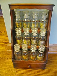 Vintage spice shelf w/jars for sale at More Than McCoy at http://www.morethanmccoy.com