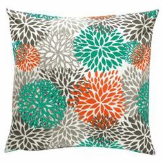 Blooms Throw Pillow in Teal