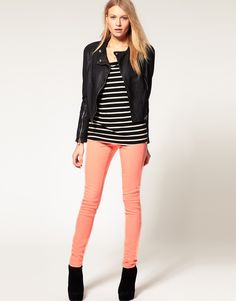 in love with coral/light pink skinny jeans right now