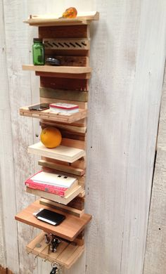 salvaged scrap wood wall shelf key wallet holder by NewWeather, $100.00