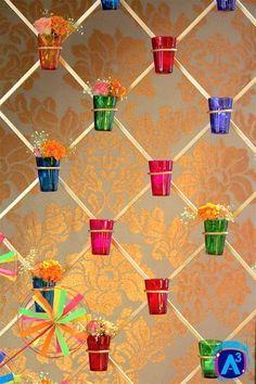 Colourful Mehendi thats high on Indian Kitsch! You'll love this free designer mehendi theme with super fun DIY mehendi decor ideas! Housewarming Decorations, Diwali Decorations, Stage Decorations, Indian Wedding Decorations, Festival Decorations, Flower Decorations, Ganapati Decoration, Decoration For Ganpati, Kite Decoration