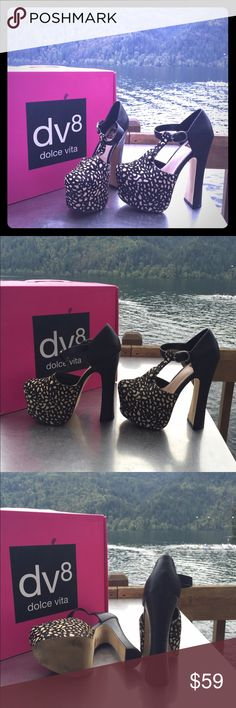 Dolce Vita Platform Heels Gorgeous pony hair black and white platform heels. Worn once. T strap style with square toe box. No low balls- that would include giving yourself a 25% discount or more with an offer. Dolce Vita Shoes Heels