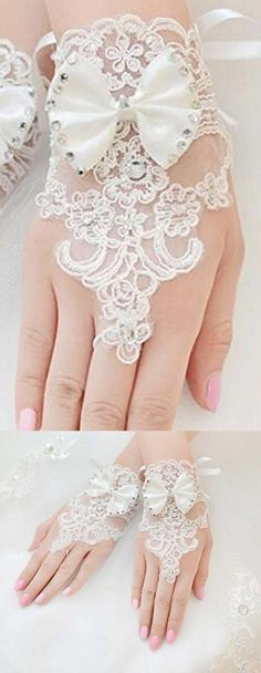 The Bride Marriage Yarn Dress Lace Short Gloves Wedding Gloves Mitten White