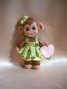monkey Christmas ornament polymer clay gift animal personalized