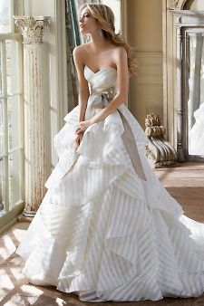 There's something so classic about this stripe wedding gown! Hayley Paige Bridal Gowns, Wedding Dresses Style by JLM Couture, Inc. available at Tesori Bridal in Fayetteville, AR. Bridal Dresses, Wedding Gowns, Wedding Bride, Lace Wedding, Bling Wedding, French Wedding, Modest Wedding, Mermaid Wedding, Wedding Bouquets
