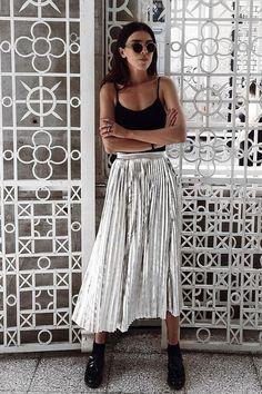 I love how casual this metallic skirt feels.