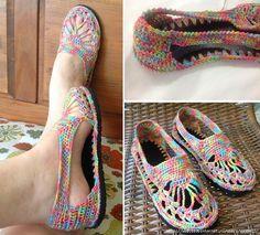 Crochet: zapatillas de verano - maomao - Yo la acción del corazón