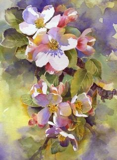 Watercolor by Aud Rye by dorthy - Blumen Watercolor Artists, Watercolor And Ink, Watercolour Painting, Watercolor Flowers, Painting & Drawing, Watercolors, Watercolor Background, Arte Floral, Botanical Art