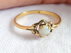 Vintage 1930s / 1940s Nouveau Gold and Opal Ring by shopFiligree, $95.00