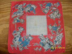 Vintage Child's Handkerchief Hankie Tom Lamb Signed Animals Working Cute!