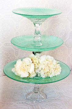 Items similar to Mint Green Cupcake / Cake Stand Shabby Chic 3 Tier Serving Platter Made To Order on Etsy Plateau Style, Cake And Cupcake Stand, Tiered Stand, Tiered Server, Plate Stands, Candle Stands, Diy Cake, Dollar Store Crafts, Decoration Table