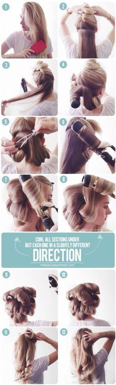 How to fake a blow out with a big barrel curling iron to get bog loose romantic curls