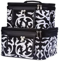 Women's Damask Print Make Up Travel Cosmetic Train Case Black Trim 2 Piece Set | eBay